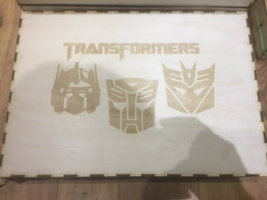 Transformers tcg compatible mega card storage box with customisable engraving