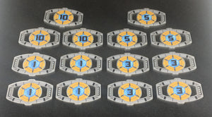 Matrix of leadership style large damage tokens. Colour printed, scratch resistant. Double sided.