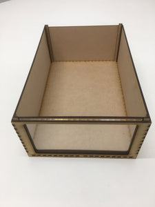 Miniature storage tray with clear acrylic window - 125mm