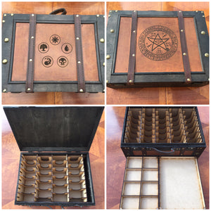 Vintage style card storage box with customisable engraving - large