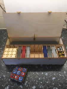 Playmat, card decks and tokens storage box compatible with games like Marvel Champions, keyforge, magic the gathering, pokemon etc