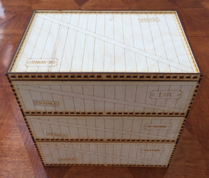 Card games, Card crate stacking trays - various sizes with customisable name plates.