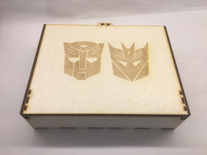 Transformers inspired storage/tournament box  with customised engraving