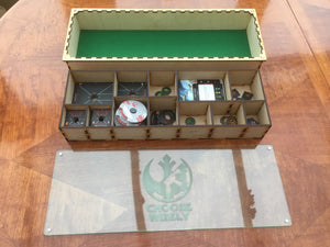X-wing 2.0 compatible magnetic stacking boxes/trays. Customisable engraved lids.