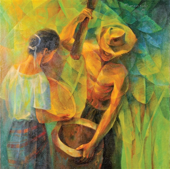Ang Magbabayo by artist Vicente Manansala, which depicts a man helping out a woman in pounding rice, also a form of paninilbihan.