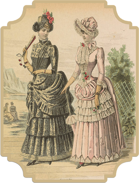 Victorian-era women in England, with one carrying a traditional hand fan.
