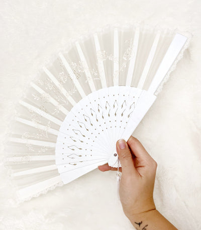 Pamaypay Embroidered Hand Fan (White)