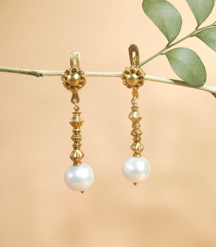 Pearl Tambourine Earrings