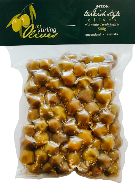 Green Turkish Style Olives - with mustard seed and garlic