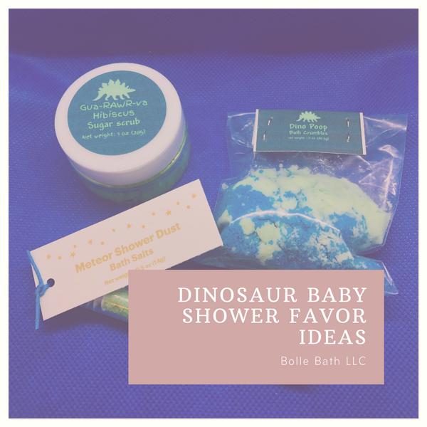 Dinosaur themed baby shower favors Bolle Bath LLC