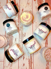 Group of Body scrubs and soaps