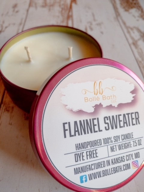 Flannel Sweater 8 oz Holiday Scented Candle Tin