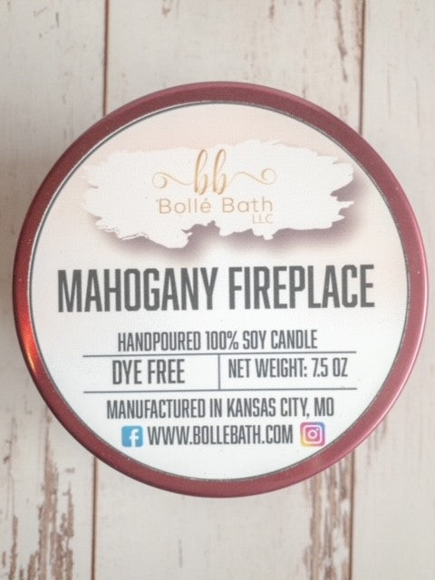 Mahogany Fireplace Natural Soy Wax Candle Tins