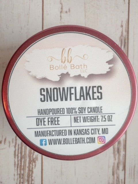 Snowflakes 8 oz Holiday Scented Candle Tin