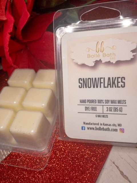 Snowflakes Soy Holiday Scented Wax Melts Clamshells
