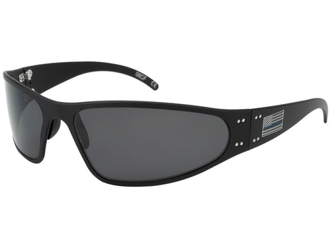 GATORZ PATRIOT - WRAPTOR BLUE LINE  - BLACK -BL AMERICAN FLAG - SMOKED POLARIZED LENS