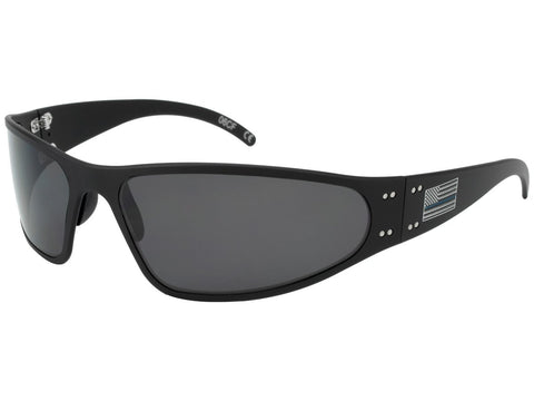 GATORZ PATRIOT - WRAPTOR - THIN BLUE LINE - MATTE BLACK - SMOKED POLARIZED LENS