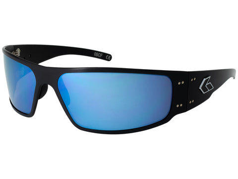 GATORZ MAGNUM - BLACK - SMOKED POLARIZED W/ BLUE MIRROR LENS