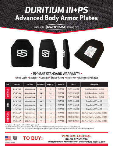 "ShotStop Ballistic Armor: Duritium III+PS Level III+ SIDE PLATE Single Curve 8"" x 5"" x .95"""