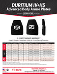 "ShotStop Ballistic Armor: Duritium IV+HS SIDE PLATE Single Curve 6"" x 6"" x 1.1"""