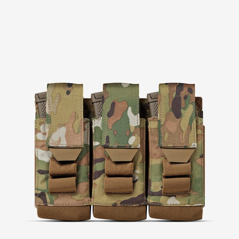 Carrier: Triple Multi-Caliber Rifle Magazine Pouch - Color: MultiCam
