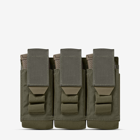 Carrier: Triple Multi-Caliber Rifle Magazine Pouch - Color: Ranger Green