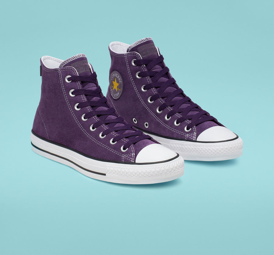 Converse CTAS Pro Hi Skate Shoe in Grand Purple and Vivid Sulfur