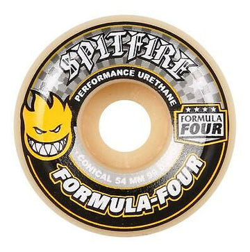 Spitifre Formula Four Yellow Print Conical Skate Wheel in 56mm 99duro