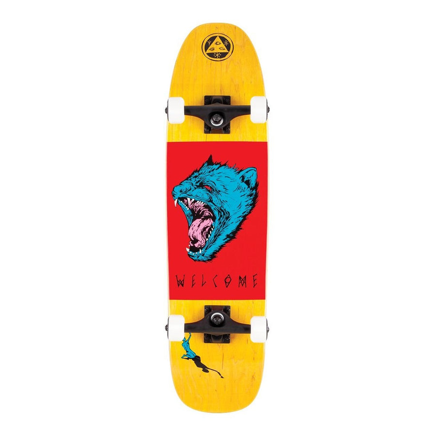 Welcome 8.25'' Tasmanian Angel Complete Skateboard in Yellow Red and Blue