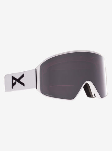 2021 Anon M4 Snow Goggle in White with a White Lens and a Perceive Sunny Onyx Bonus Lens and MFI Face Mask