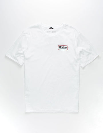 Brixton Palmer Short Sleeve Premium Tee in White Rust