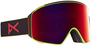 2021 Anon M4 Snow Goggle in Black with a Black Pop Lens and a Perceive Sunny Red Bonus Lens and MFI Face Mask