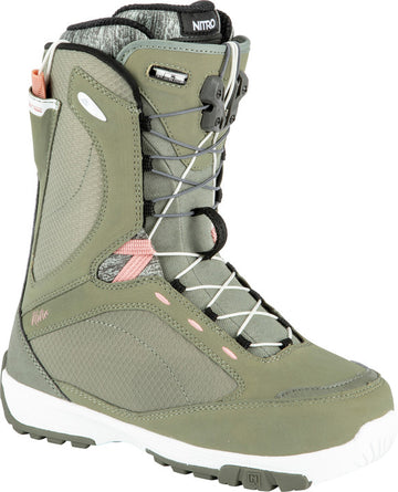 2022 Nitro Monarch Tls Womens Snowboard Boots in Gravity Grey and Rose