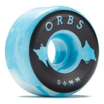 Orbs Specters Swirls Blue and White Skate Wheel 99a 56mm