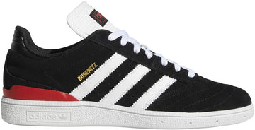 Adidias Busenitz Pro Skate Shoe in Core Black, Cloud White, and Scarlet