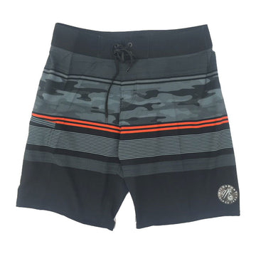Milosport Striped Board Short in Black, Grey and Red