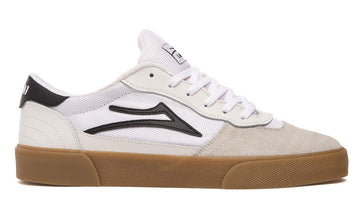 Lakai Cambridge Skate Shoe in White and Black Suede