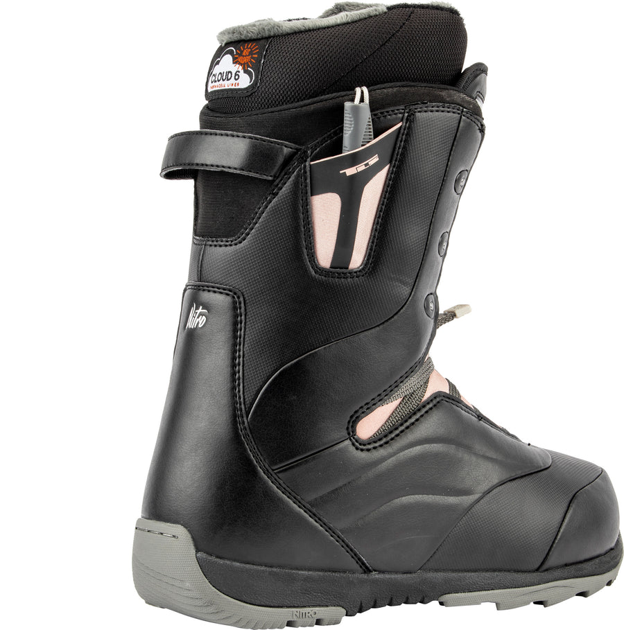 2020 Nitro Crown TLS Womens Snowboard Boot in Black-Rose