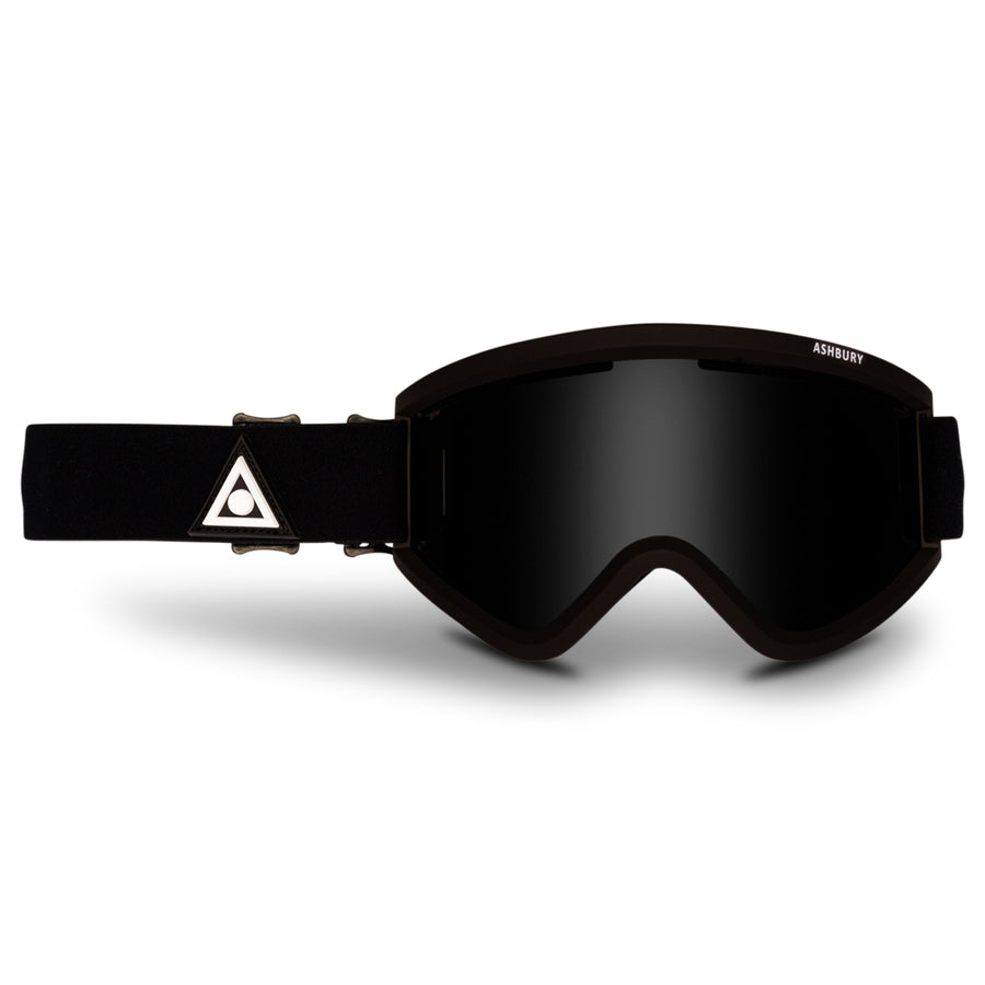 2021 Ashbury Blackbird Snow Goggle Black Triangle Frame with a Dark Smoke Lens and Yellow Spare Lens