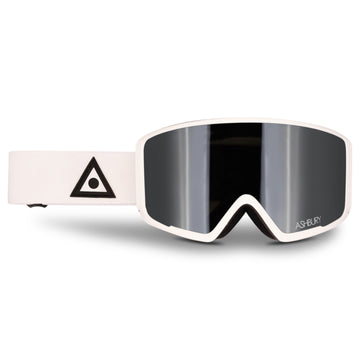 2021 Ashbury Arrow Snow Goggle White Triangle Frame with a Silver Mirror Lens and Yellow Spare Lens