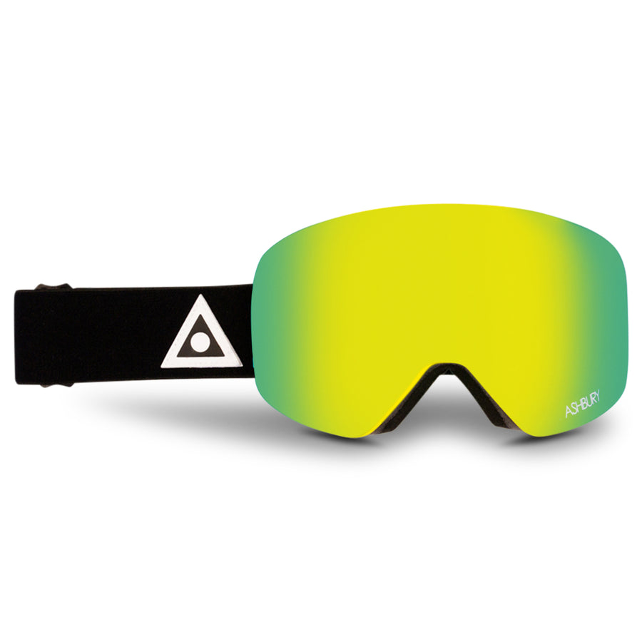 2021 Ashbury Hornet Snow Goggle Black Triangle Frame with a Godl Mirror Lens and Yellow Spare Lens