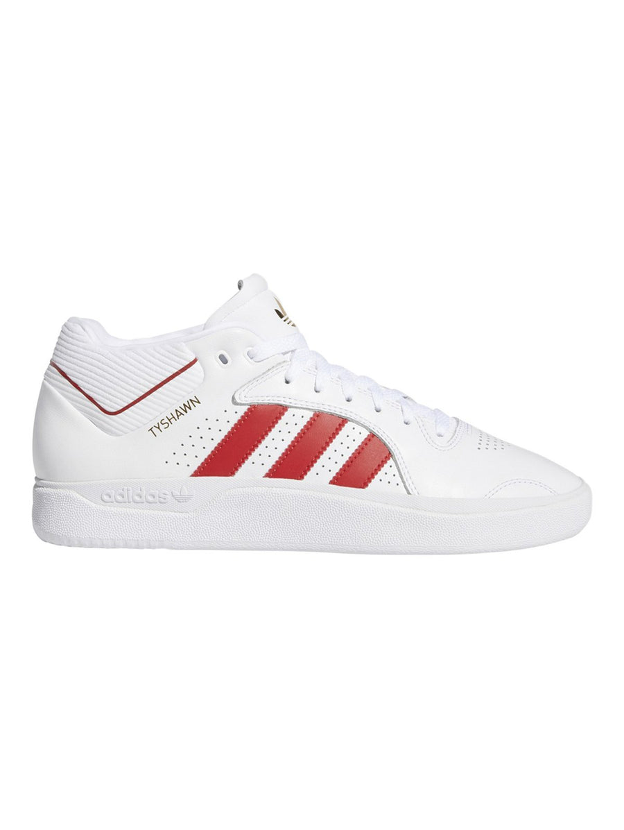 Adidas Tyshawn Shoe in White, Scarlett Red, and White