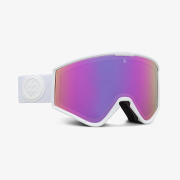 2021 Electric Kleveland Small Snow Goggle with a Matte White Frame and a Light Green Lens and a Brose Pink Chrome Spare Lens