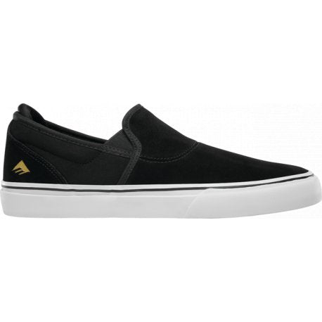 Emerica Wino G6 Slip-On Skate Shoe Black, White, Gold