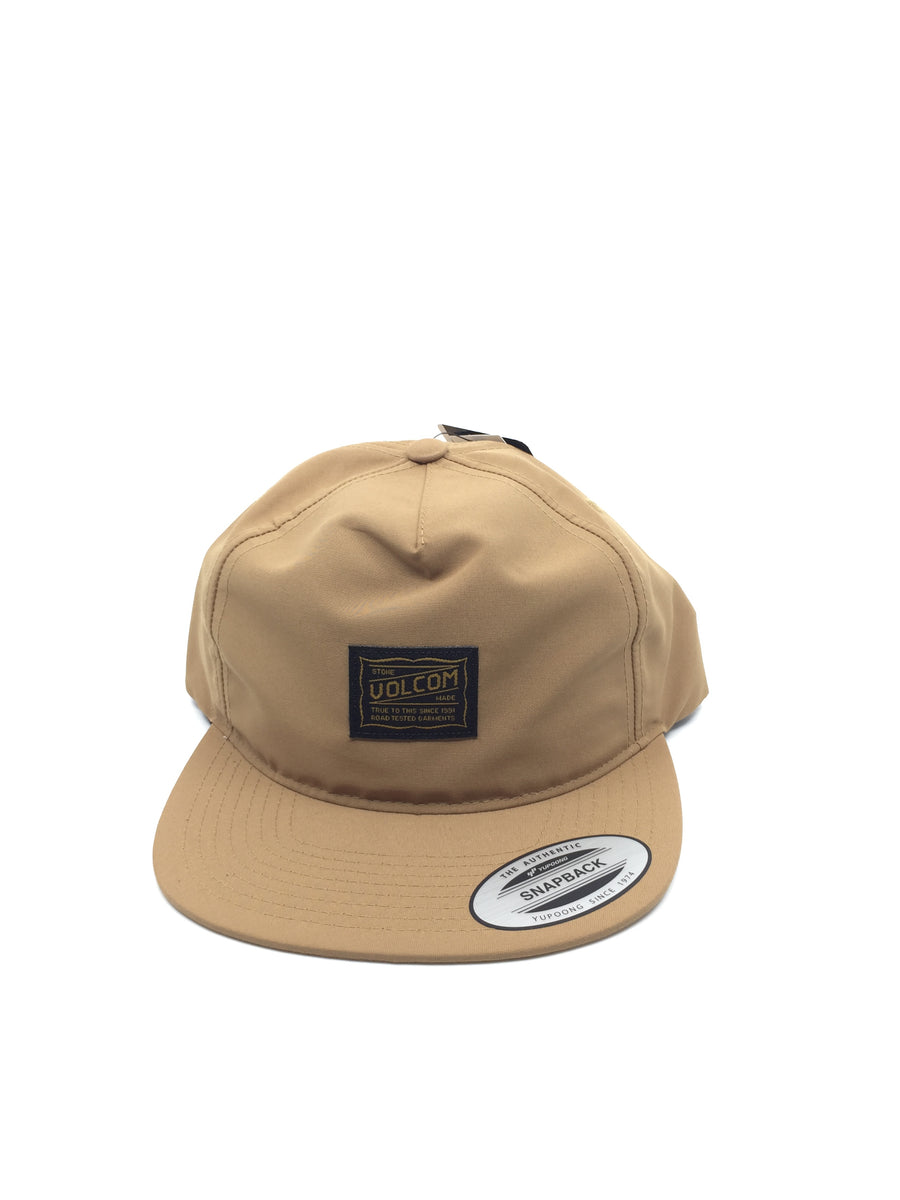 Volcom Road Test Snapback Hat in Dull Gold
