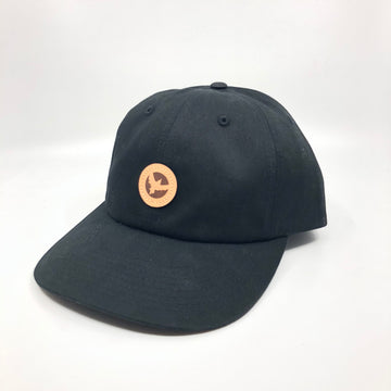 Milo Leather Patchwork Dad Hat in Black
