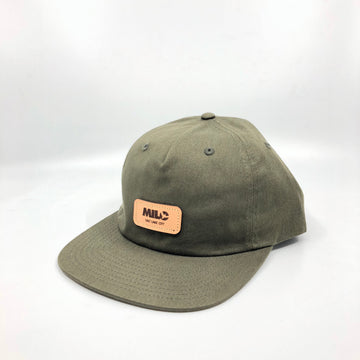 Milo Leather Patchwork Flat Brim Hat in Olive