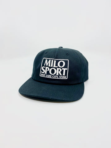 Milo Dad Embroidered Square Hat in Black