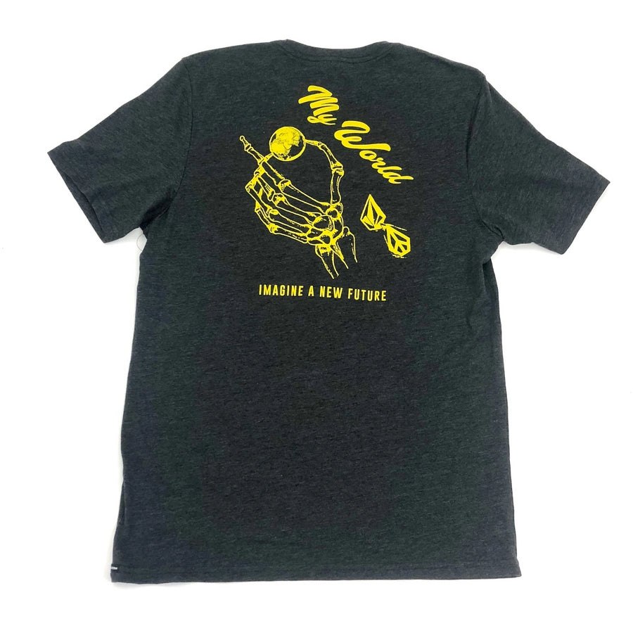Volcom Skele World T shirt in Heather Black