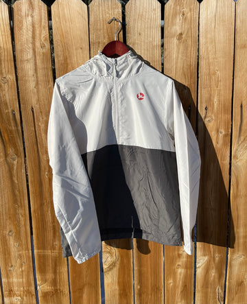 Milosport Windbreaker Small Hit Jacket in Black (Charcoal) White (Smoke) and Red